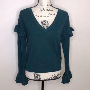 BB Dakota Teal Ruffle Sleeve Sweater - small